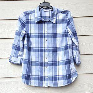 Women's  White and Blue Plaid Button Down Shirt